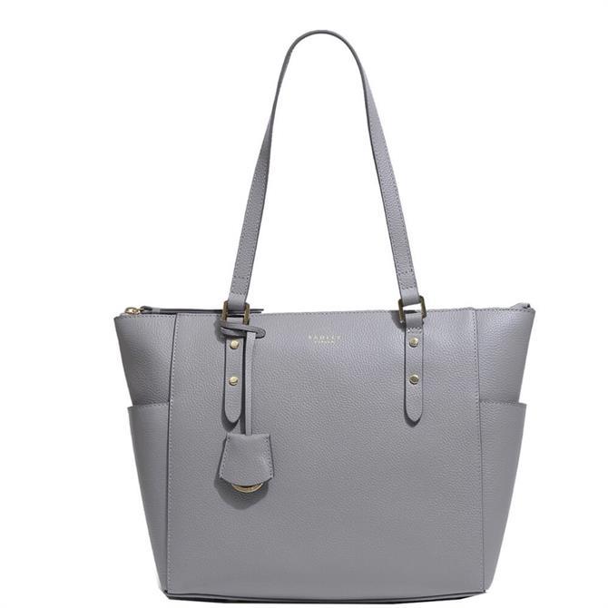 Radley London Silk Street Grey Large Zip-Top Shoulder Bag