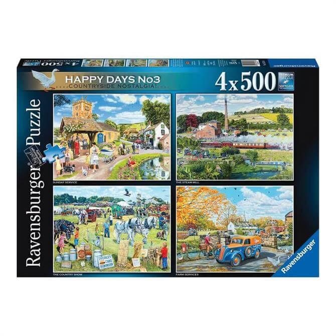 Ravensburger Happy Days No3 Countryside Nostalgia 4x 500pc Jigsaw Puzzles