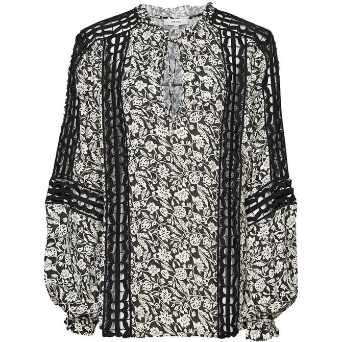 REISS FLORENCE Floral Printed Bloom Detail Blouse