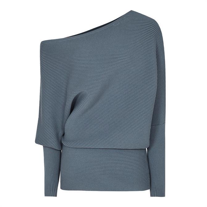 REISS LORNA Drape Knitted Top