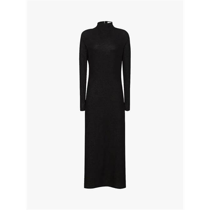 REISS LILY Bow Back Detail Midi Dress Black