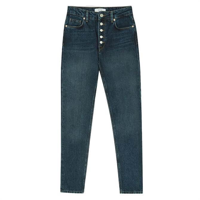 REISS BAILEY Dark Blue Mid Rise Slim Cut Jeans