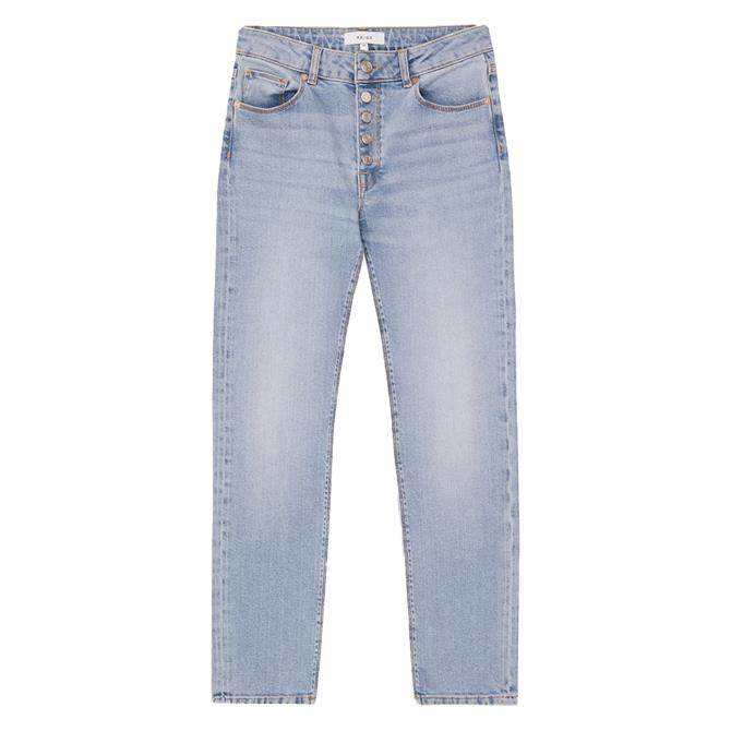 REISS BAILEY Pale Blue Mid Rise Slim Cropped Jeans