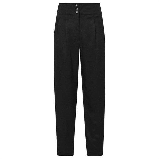 REISS BLAIR Black Zip Detail Tapered Fit Trousers