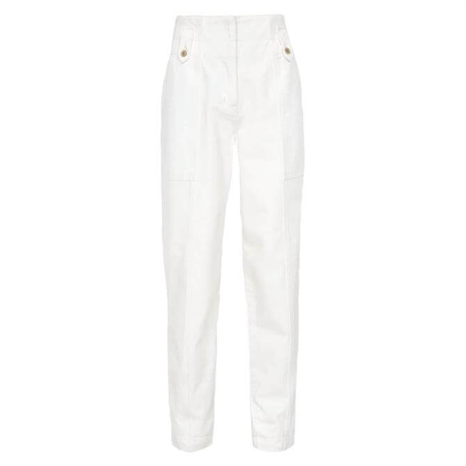 REISS ALANA White Cotton Tapered Cargo Trousers