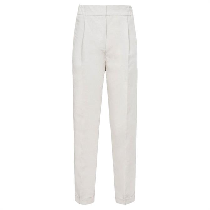 REISS LILY Grey Linen Blend Pleat Front Trousers