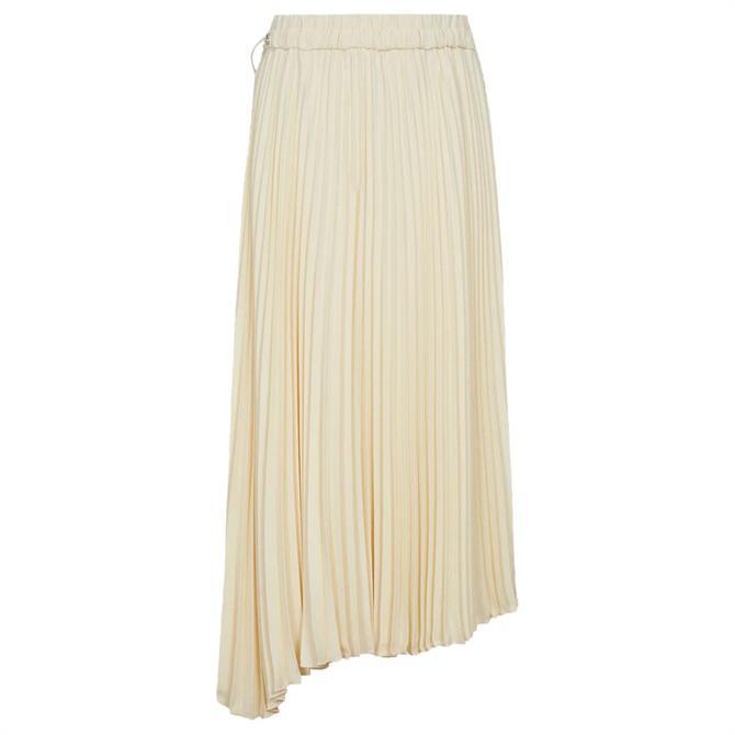 REISS MOLLY Yellow Pleated Midi Skirt