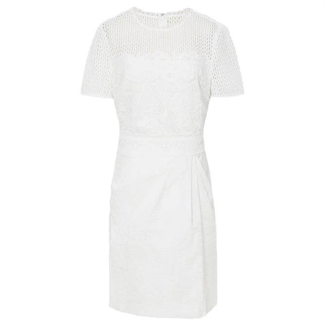 REISS FREYDA White Lace Detailed Mini Dress