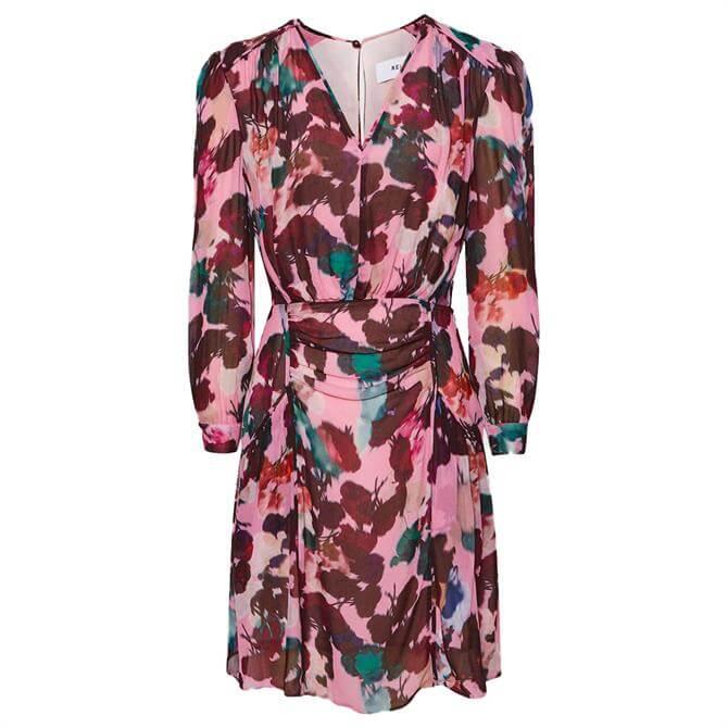 REISS JOSEPHINE Pink Floral Print Mini Dress