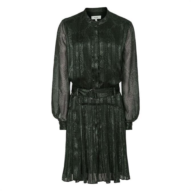 REISS GILLIAN Black Snake-Print Mini Dress