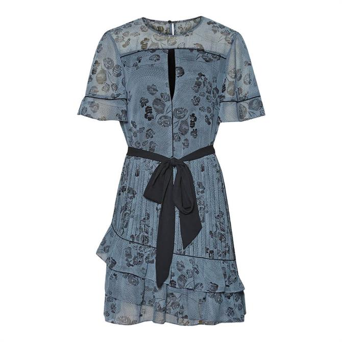 REISS DANI Blue Floral Printed Mini Dress