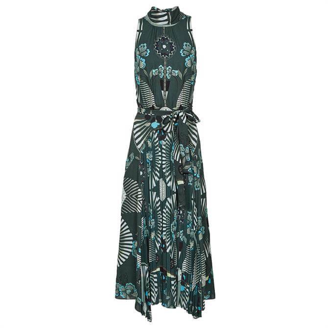 REISS EDDIE Green Printed Midi Dress
