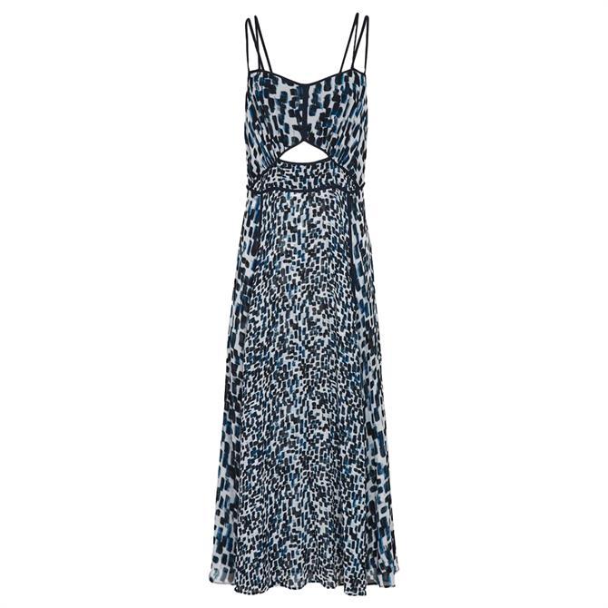 REISS NERISSA Blue Printed Midi Dress