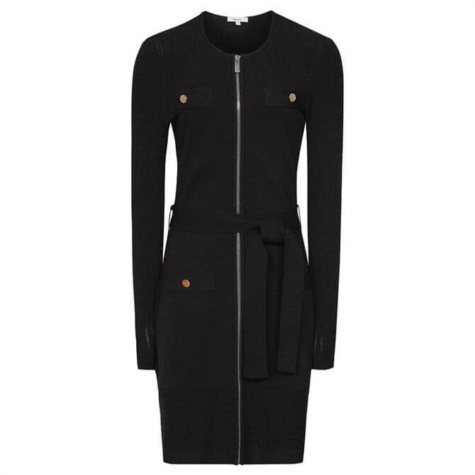 REISS EMILY Black Knitted Mini Dress with Zip Detail