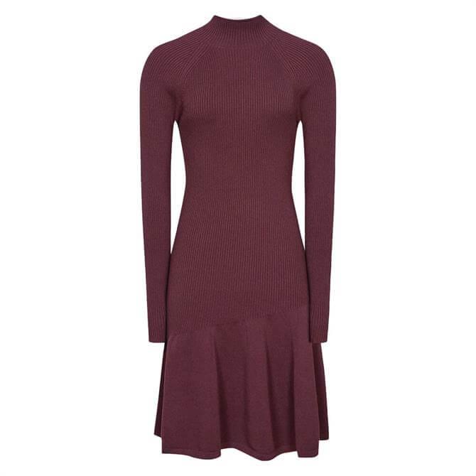 REISS CLARY Knitted Ruffle Hem Dress