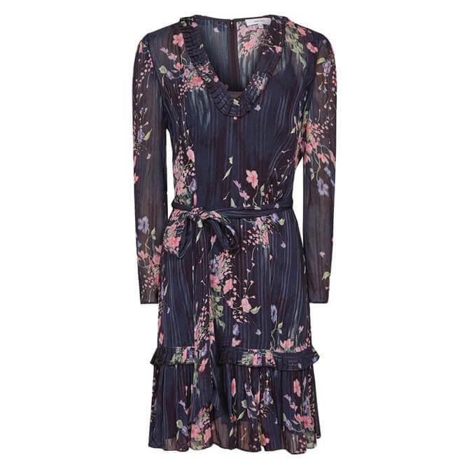 REISS SHANNON Navy Print Floral Print Mini Dress