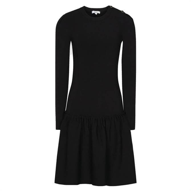 REISS CHARLOTTE Black Knitted Ruffle Hem Dress