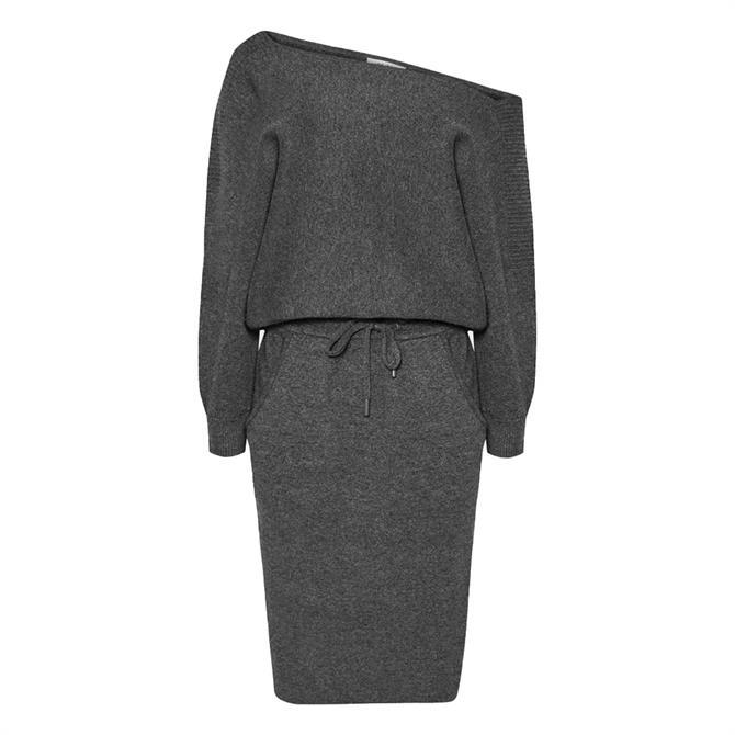 REISS AMARA Dark Grey Off-the-Shoulder Knitted Dress