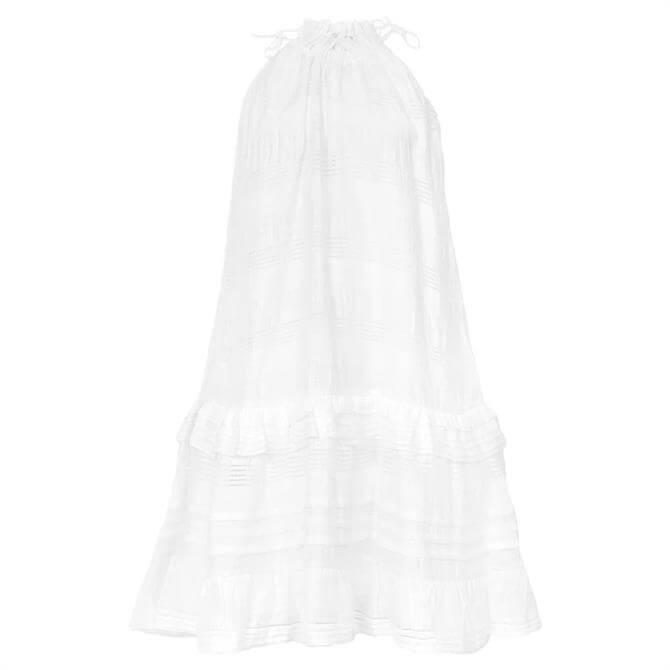 REISS GABRIELLA White Linen Blend Mini Dress