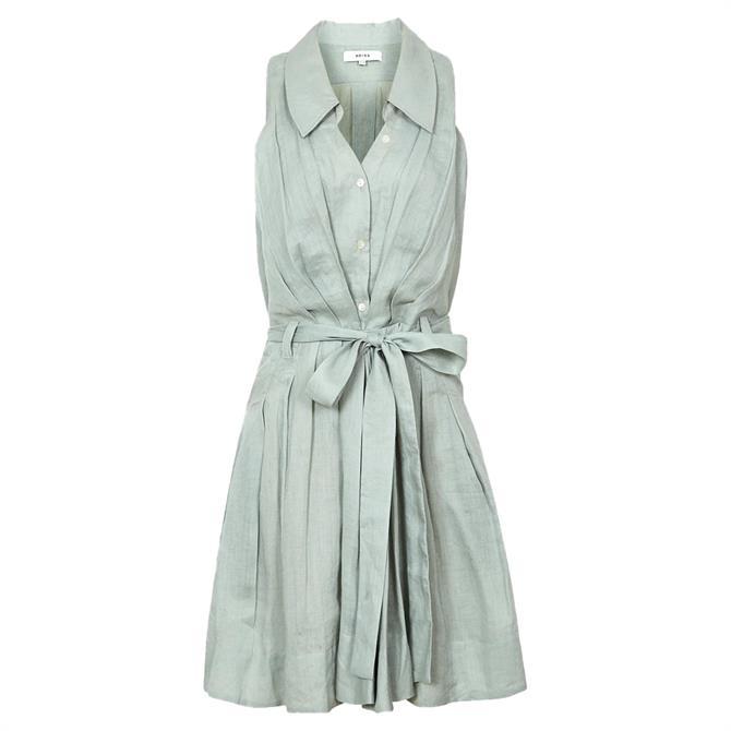 REISS CARLOTTA Sage Button Through Mini Dress