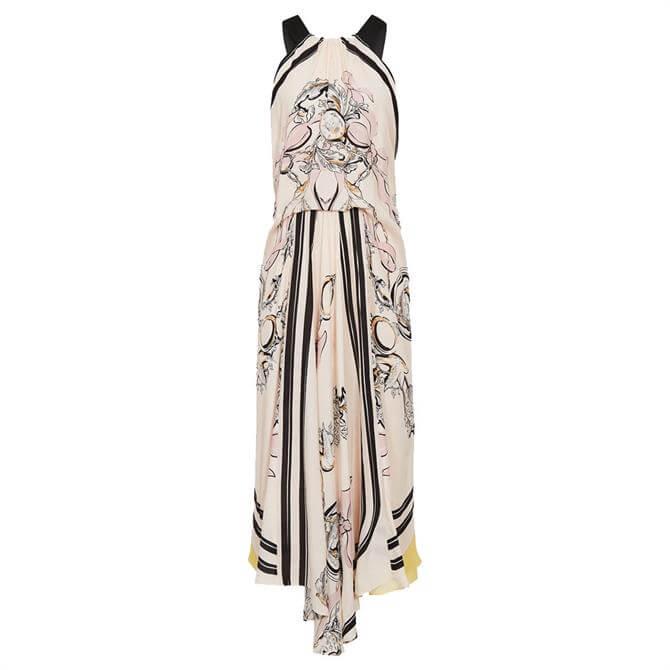 REISS GRACE Pink Scarf Print Midi Dress