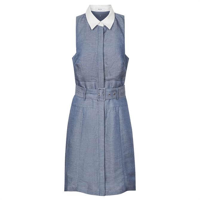 REISS MIRA Contrast Collar Mini Dress