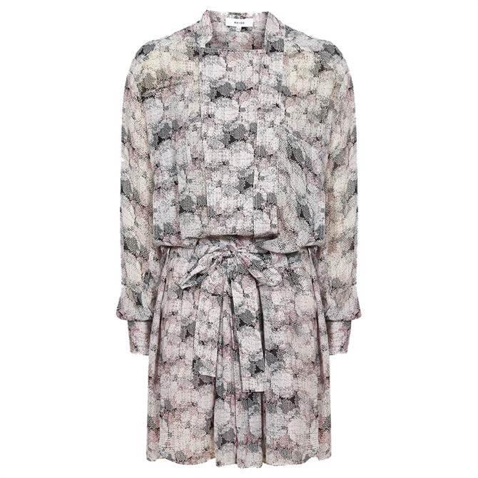 REISS ALICE Pink Print Circle Printed Shirt Dress