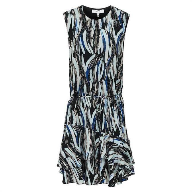 REISS ELSIE Black Print Mini Dress