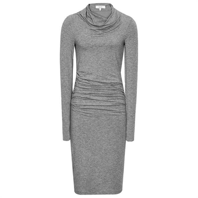 REISS SARA Ruched Wool Jersey Bodycon Dress