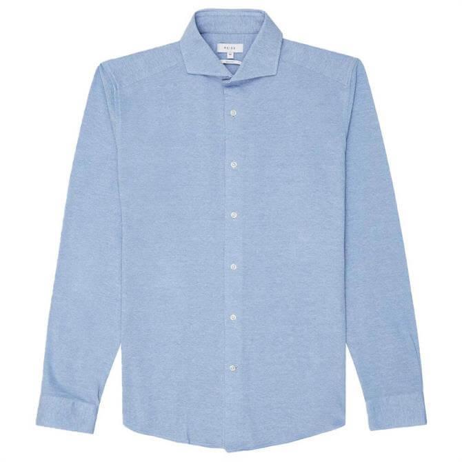 REISS GALE Soft Blue Jersey Button Through Shirt