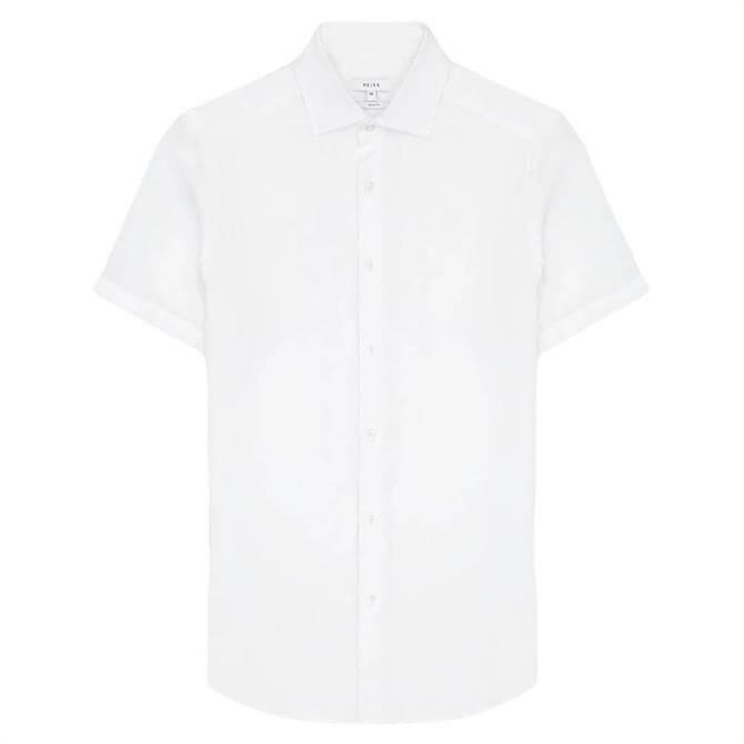 REISS HOLIDAY White Linen Slim Fit Shirt