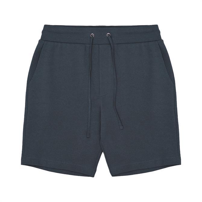 REISS BELSAY Blue Garment-Dyed Jersey Shorts