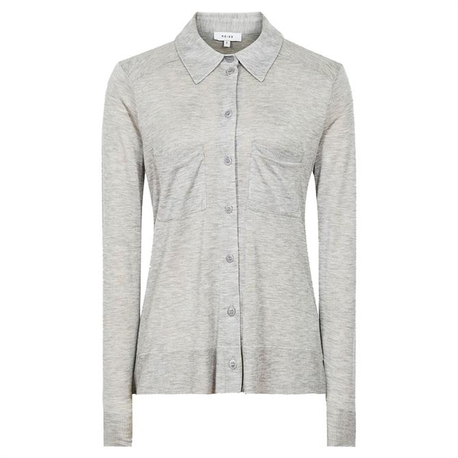 REISS NANCY Grey Twin Pocket Jersey Shirt