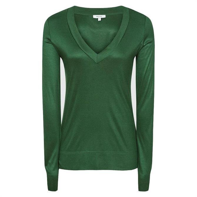 REISS SELENA Green Jersey V-Neck Top