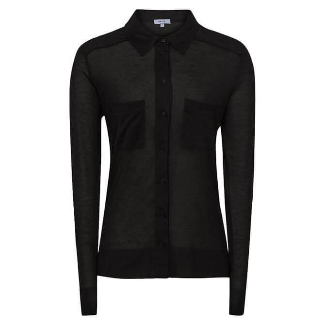 REISS NANCY Black Twin Pocket Jersey Shirt