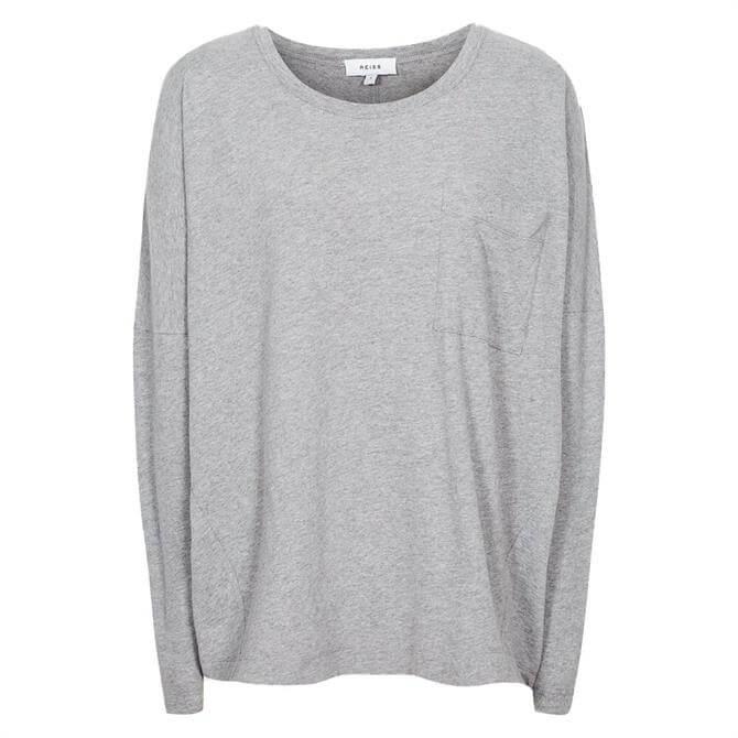 REISS CASSIE Grey Marl Cotton Jersey Long Sleeved Top