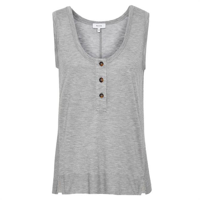 REISS MATTEA Grey Marl Fine Jersey Button Vest Top