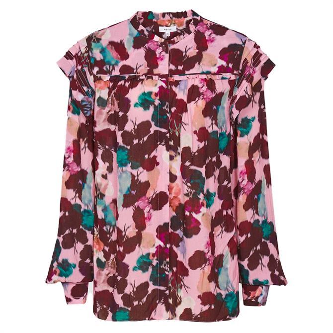 REISS PHOENIX Pink Floral Printed Blouse