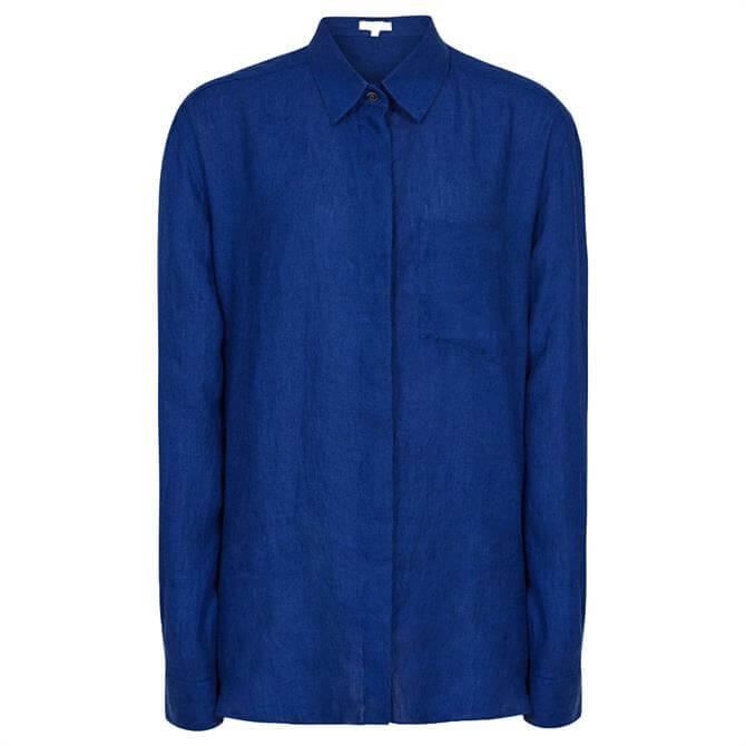 REISS CAMPBELL Indigo Linen Relaxed Fit Shirt