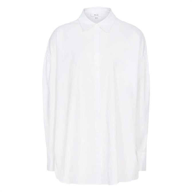 REISS TANYA White Cotton Oversized Shirt