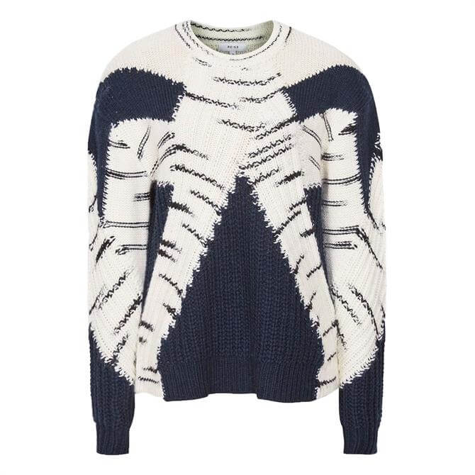 REISS TIFFANY Navy Colour Block Knitted Jumper