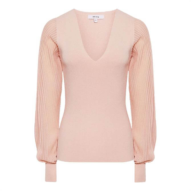 REISS SAVANNAH Blush V-Neck Knitted Top