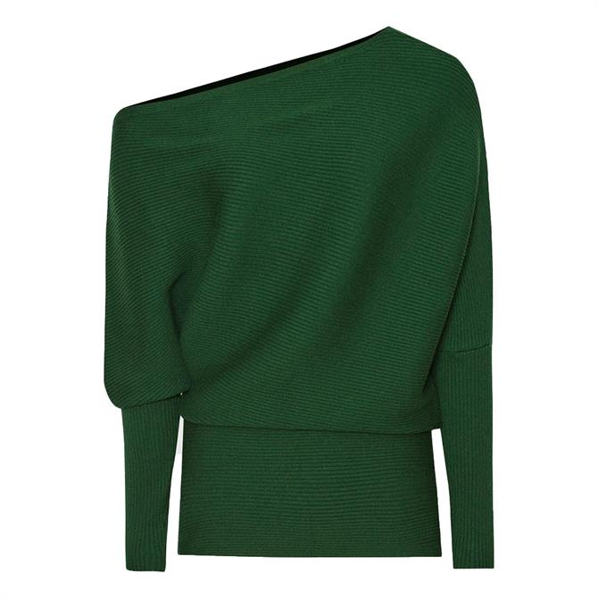 REISS LORNA Green Asymmetric Knitted Top