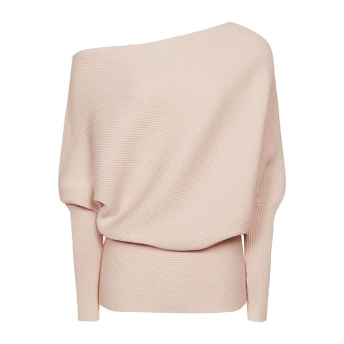REISS LORNA Blush Asymmetric Knitted Top