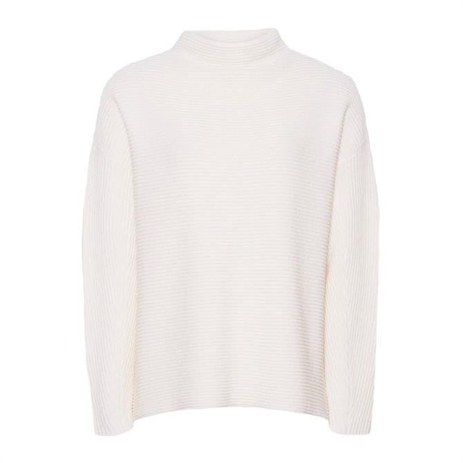 REISS LILA Cream Ribbed High Neck Jumper