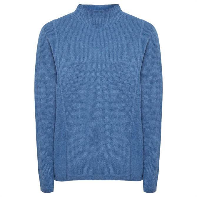 REISS MARLEY Blue Textured High Neck Jumper