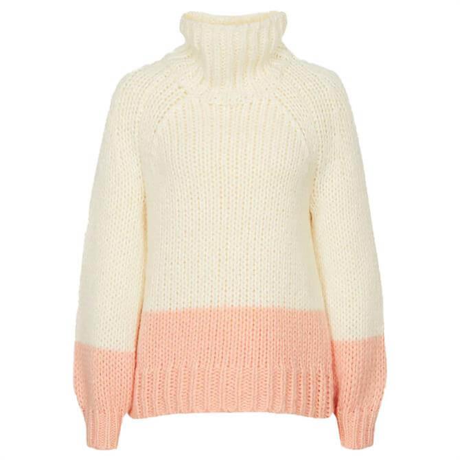 REISS HETTIE Cream Pink Chunky Knit Roll Neck Jumper