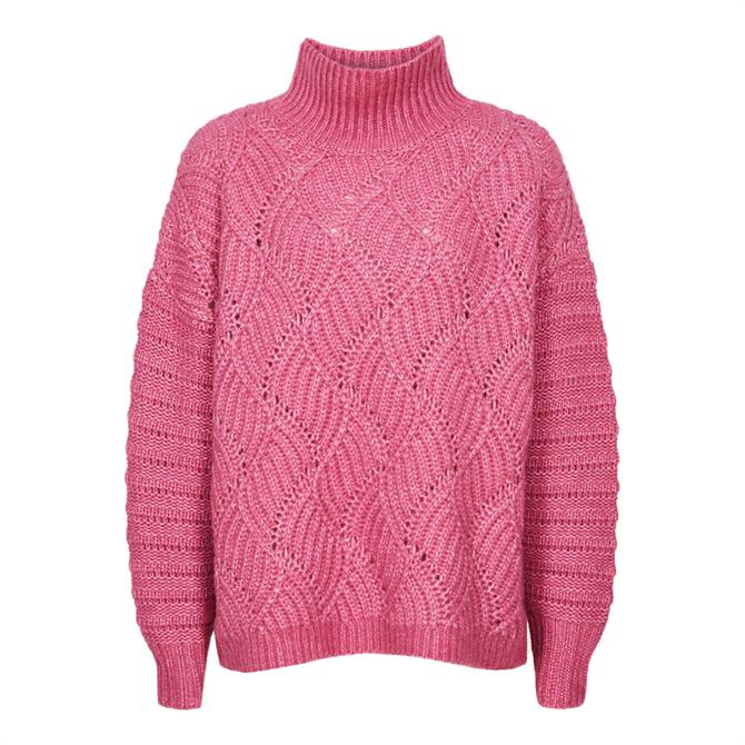 REISS OLA Pink Oversized Cable Knit Jumper