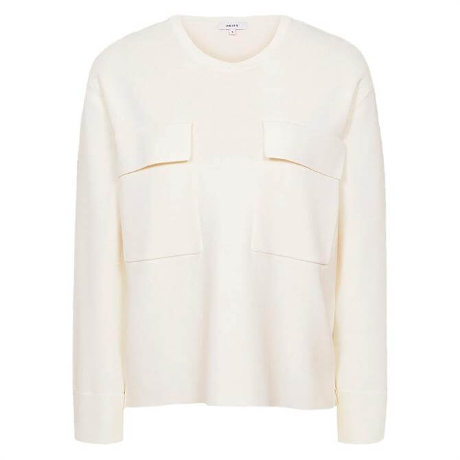 REISS TILLY Cream Knitted Twin Pocket Top