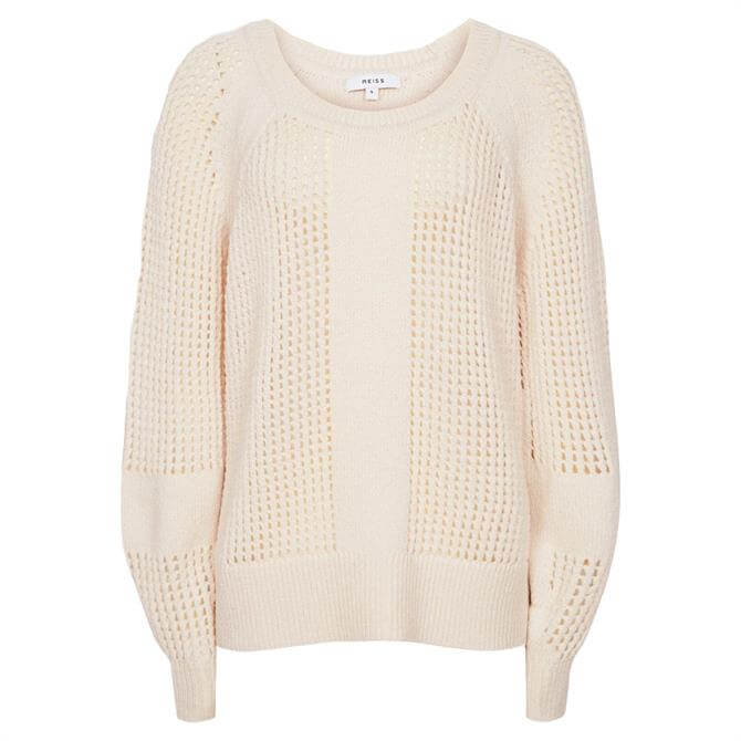 REISS RIA Wool Blend Open Knit Jumper